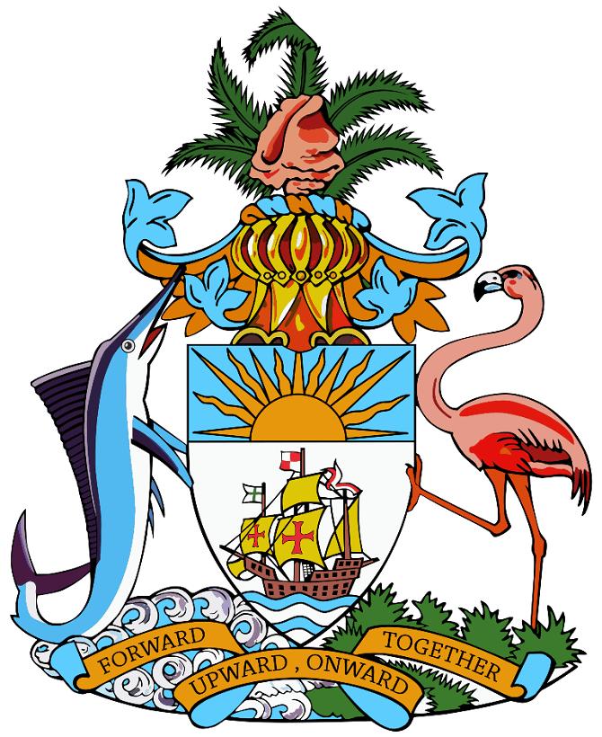 голубой марлин и розовый фламинго на гербе Багамских островов